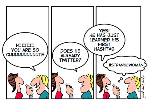 twitter hashtag cartoon