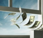 money flying out window